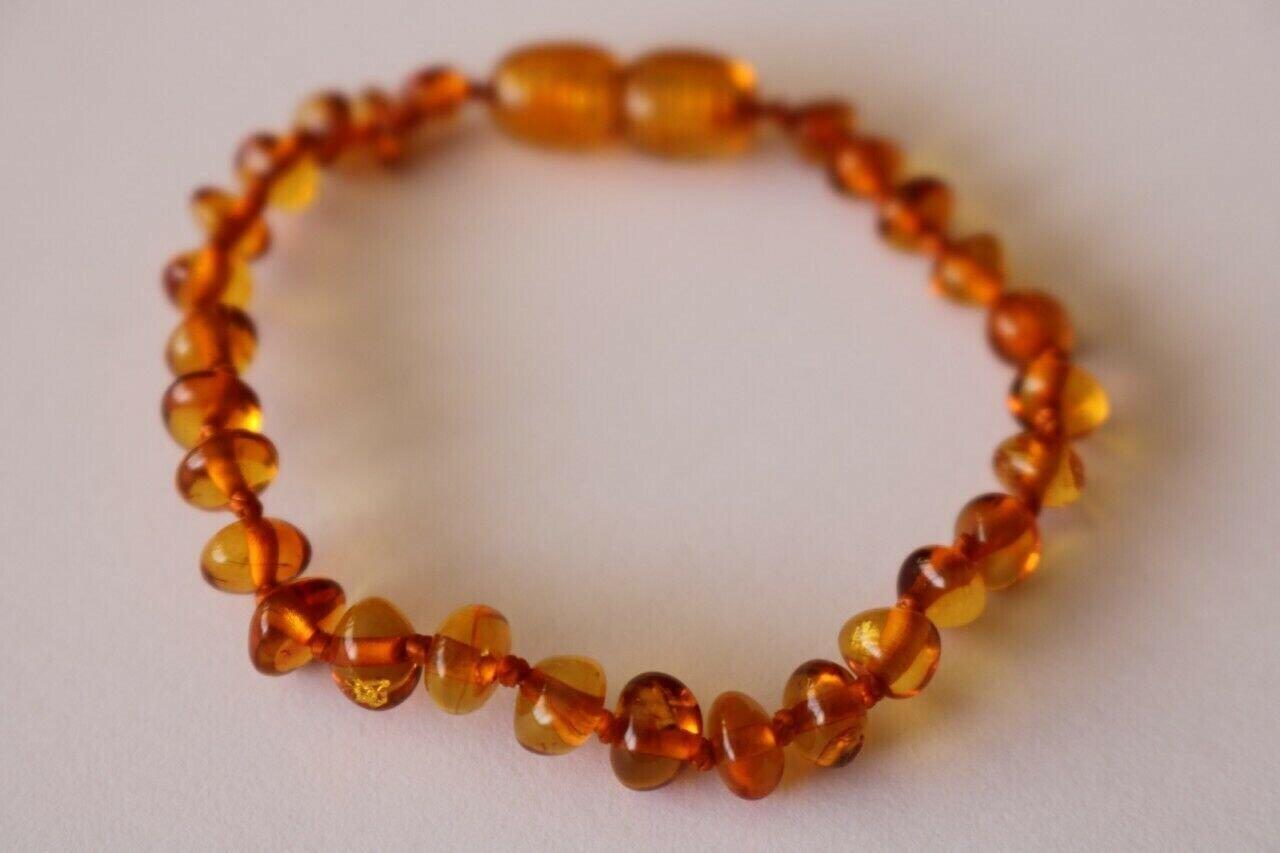 Natural Baltic Amber bracelet for baby Cognac colour 13cm
