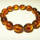 Amber bracelet Natural Baltic Amber pressed  beads elastic  unisex  10.18gr. B33