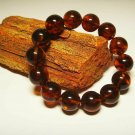 Big size Natural Baltic Amber bracelet pressed round beads unisex  17gr. B-460