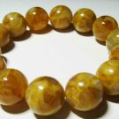 Amber Bracelet Natural baltic Amber pressed round beads elastic   21.49 gr B-21