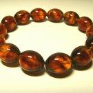 Natural Genuine Baltic Pressed Amber unisex elastic  Bracelet  10.23gr B-22