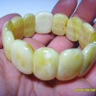White Genuine Baltic Amber oblong pieces elastic Bracelet 26.11gr. A-398
