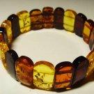 Natural baltic Amber bracelet Colorful pieces elastic unisex  12.50gr. A-45