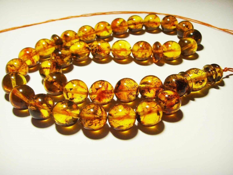 Islamic 33 Prayer beads Genuine Baltic Amber pressed Tasbih Misbaha 36.43grB114