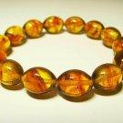 Amber Bracelet Natural baltic Amber pressed olive beads elastic   10.12gr. B34