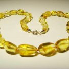 Amber necklace Natural baltic Amber transparent beads silver claps  24.68gr A316
