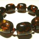 Amber bracelet Genuine Baltic Amber pressed beads elastic unisex  33.53gr B-63