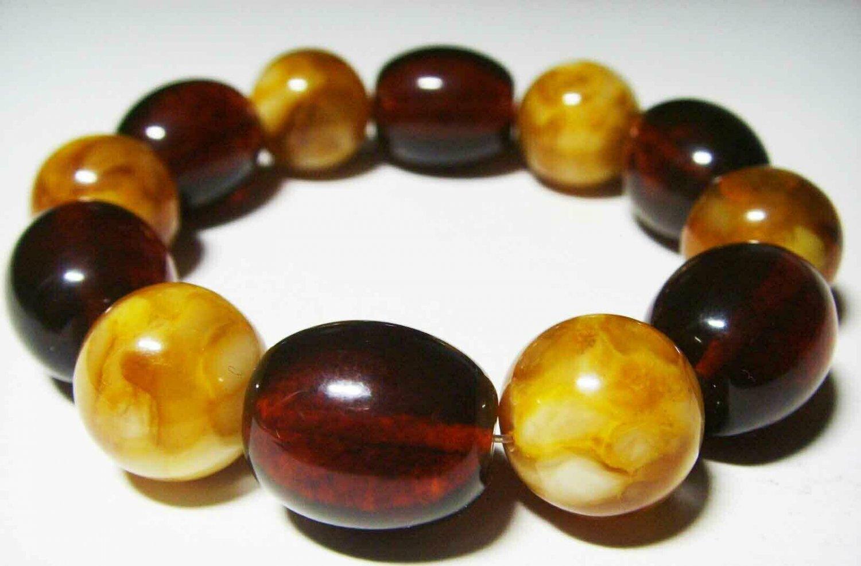 Amber Bracelet Natural Baltic Amber pressed colorful beads unisex  21.23gr- B-52