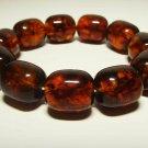 Massive Genuine Baltic Amber Bracelet pressed beads elastic unisex 40.30gr B-852