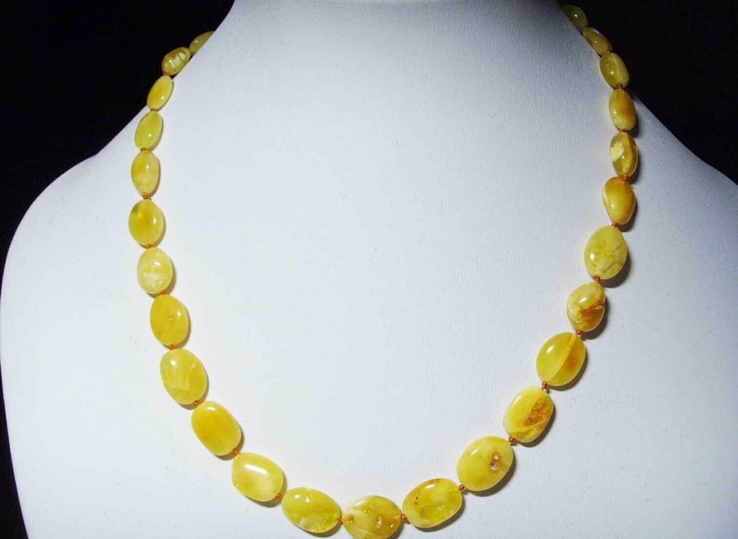 Amber necklace Natural baltic Amber flat butter yellow beads Ladies 12.41gr A-11