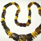 Amber necklace Natural Baltic Amber mixed beads colorful Ladies  25.51gr  A-608
