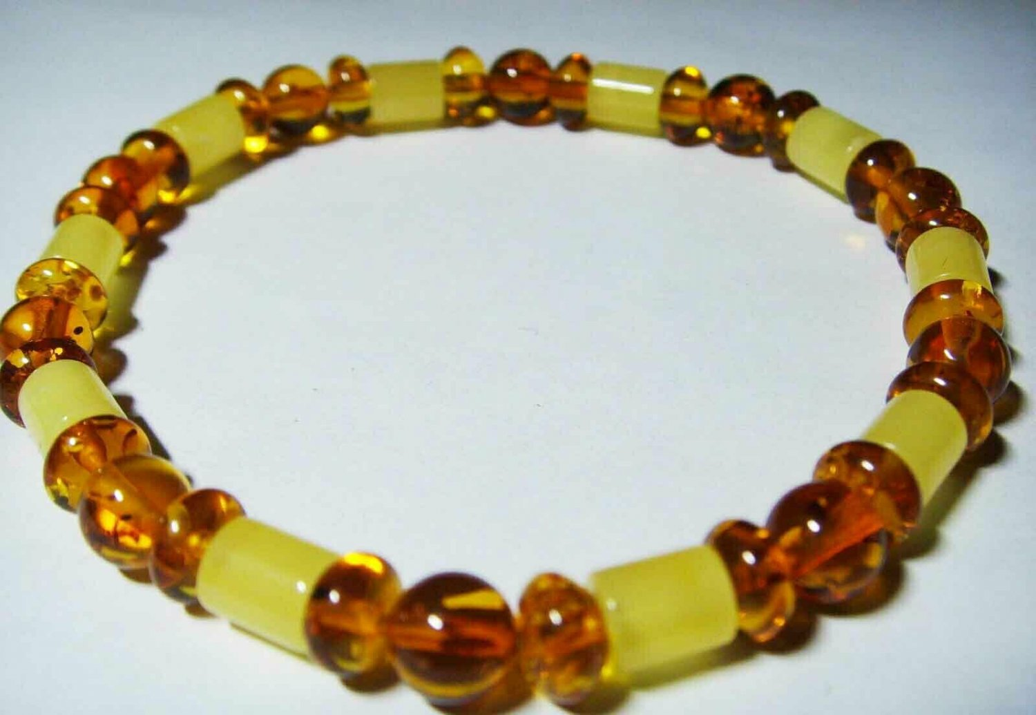 Genuine Natural Amber Bracelet mixed colorful beads elastic unisex 4.02gr A-219