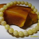 Round 7,5mm  beads White Genuine Baltic Amber stretch Bracelet 6gr. A-300