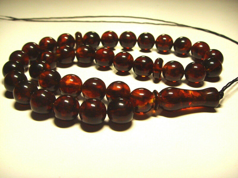 Natural Baltic AMBER pressed Islamic 33 Prayer beads Tasbih  21.27gr B-909