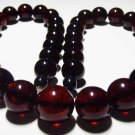 Massive Amber Necklace Natural Baltic Amber pressed dark cherry beads  50.10 gr