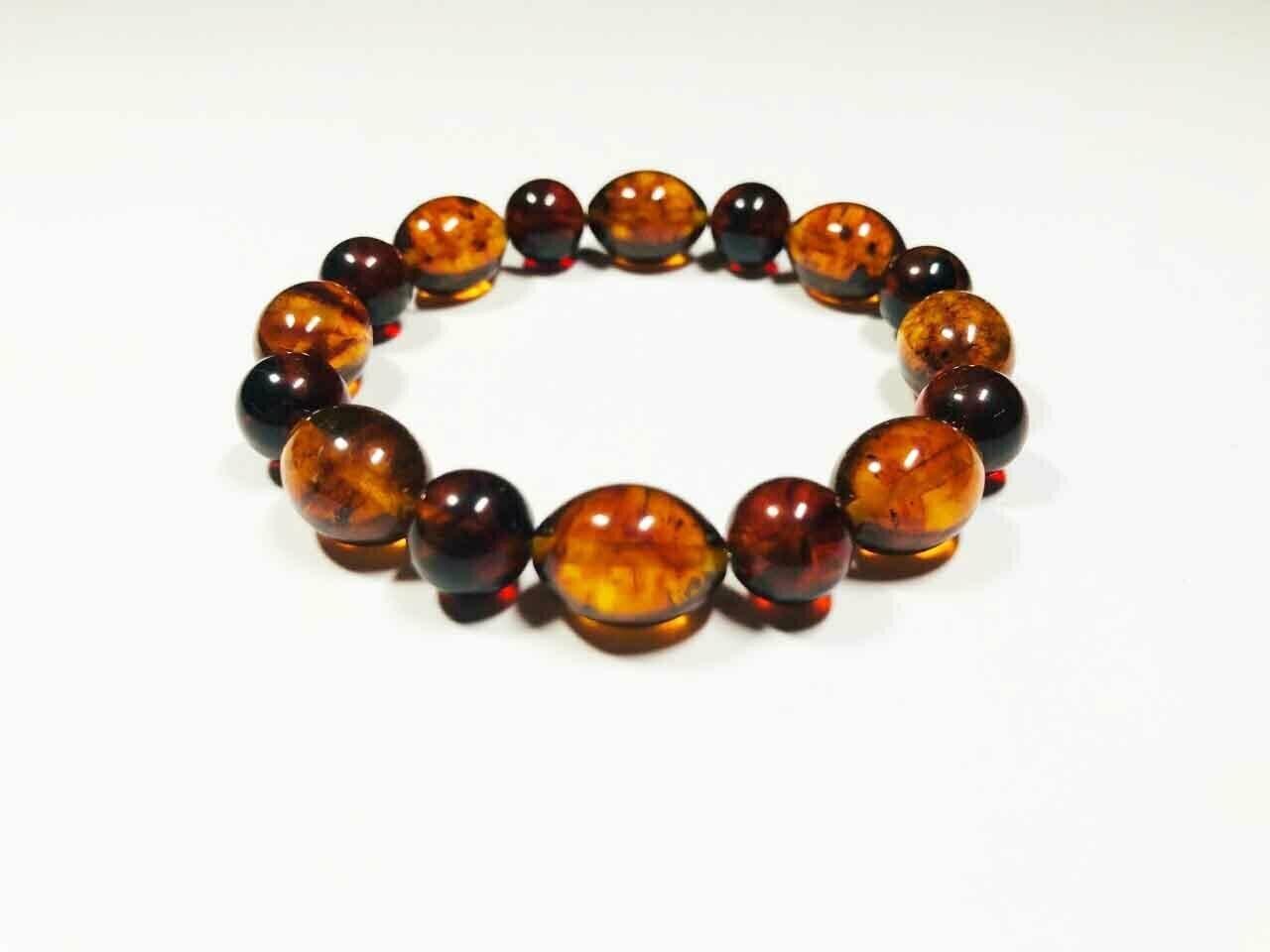 Genuine Amber bracelet Natural baltic Amber pressed colorful beads  9.08gr B 161