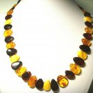 Genuine Baltic Amber Necklace colorful drops shape beads Ladies 16.05gr. A-634