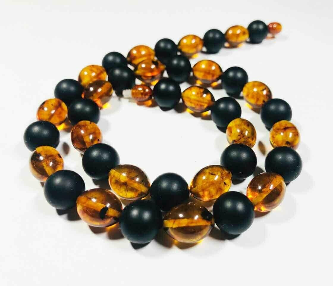 Amber Necklace Natural baltic Amber pressed colorful beads Ladies 29.43gr B12