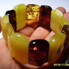 Massive  Genuine Baltic Amber Bracelet colour mix beads  48 gr. A-36