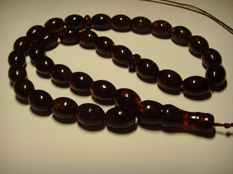 Rosary AMBER pressed Islamic 33 Prayer Olive Genuine Baltic Amber 28,22gr B-433