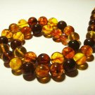Amber necklace Genuine Baltic Amber colorful pressed round  beads 36,64gr.B-167