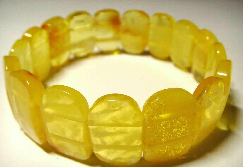 Amber bracelet Genuine Baltic Amber yellow transparent pieces 15.34gr. A-284