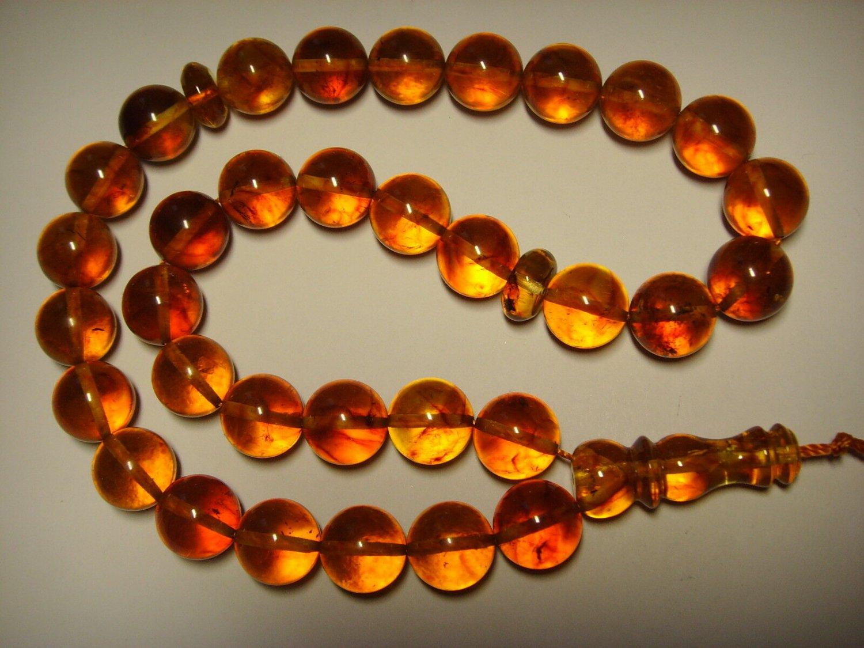 Islamic 33 Prayer beads Genuine Baltic Pressed Amber Tasbih rosary 26,82grB-631