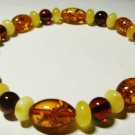 Amber bracelet Genuine Baltic Amber mixed colorful beads elastic  5.89gr A-201