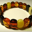 Amber Bracelet Genuine  Baltic Amber colorful beads elastic  15.08gr. A-71