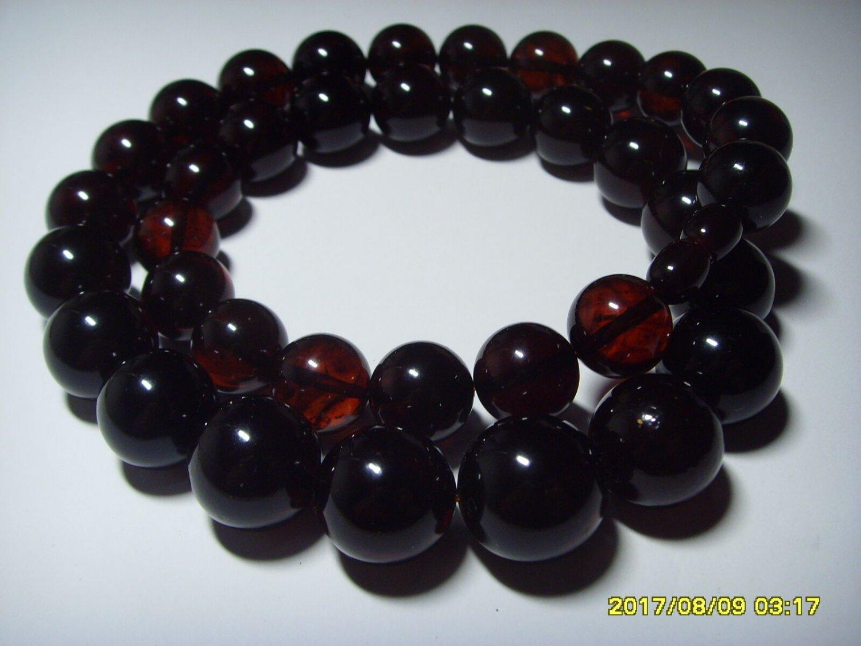 Genuine Baltic Pressed Amber round beads dark cherry colour necklace 57,78 gr.