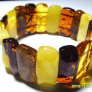 Massive Genuine Baltic Amber Bracelet colorful beads elastic  30.14 gr. A-140