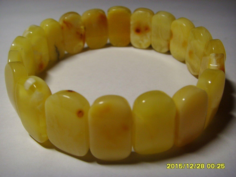 White Butter  Genuine Baltic Amber elastic Bracelet 14.35gr. A-199
