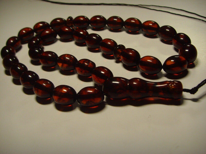 Genuine baltic Pressed Amber Islamic 33 Prayer Beads Tasbih   20.12gr B-896