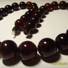 Natural Amber Genuine Baltic Pressed amber dark cherry colour necklace 57,78 gr.