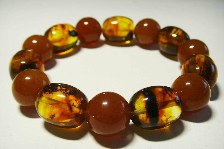 Amber bracelet Genuine Baltic Amber pressed beads elastic unisex  15.55gr B-103