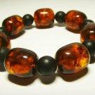 Amber Bracelet Natural baltic Amber pressed mixed beads elastic  30.96gr. B513