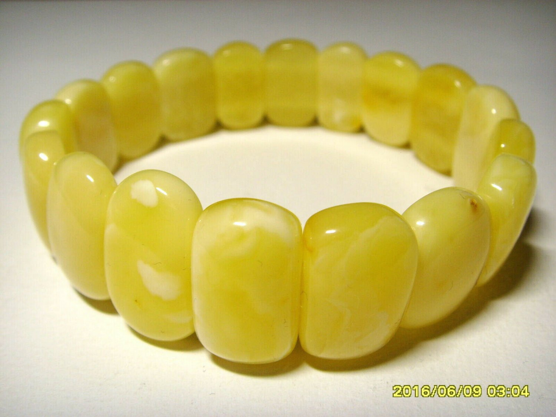 Amber bracelet Natural Baltic Amber oblong white beads elastic  17.85gr. A-458