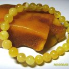 Amber bracelet Natural baltic Amber yellow round beads elastic  6.59gr.A-109