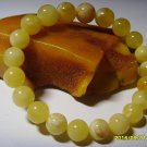 Natural Baltic Amber Round beads White-butter colour Bracelet 11.35gr. A-256