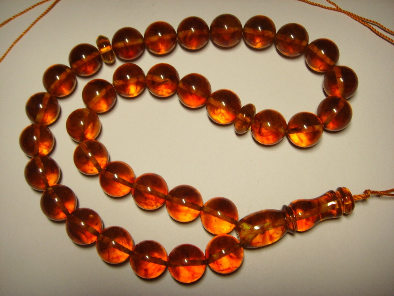 AMBER pressed Islamic 33 Prayer Round  Genuine Baltic Amber 27,50gr B-642