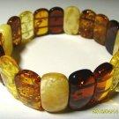 Natural baltic Amber Bracelet colorful beads elastic unisex  19.78 gr. A-23