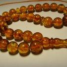 Real Baltic AMBER pressed Islamic 33 Prayer beads Misbaha rosary  26,61gr B-617