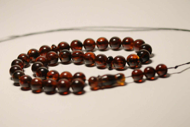 Genuine Baltic AMBER pressed Islamic 33 Prayer beads Tasbih Misbaha 29.27grB-837