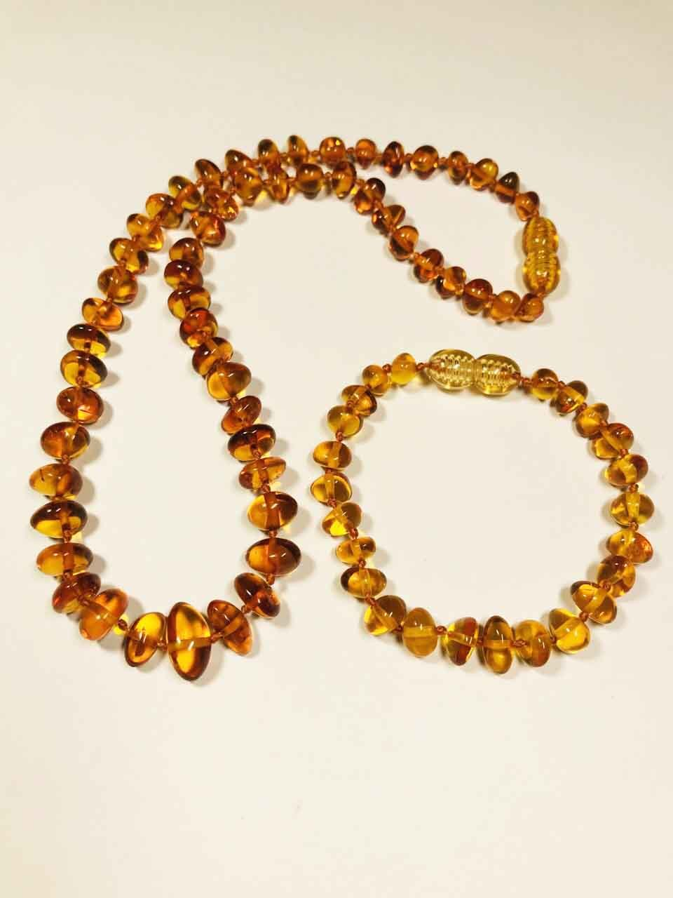 Amber Set Necklace and Bracelet cognac baroque beads Natural Amber kids 11.gr.