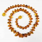Amber necklace for kid for baby natural baltic amber knotted cognac beads 8gr.