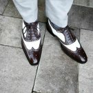 Handmade Mens Spectator Two tone Wing tip brogue Dress shoes, Men formal shoes