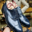 Handmade Mens Oxfords Dress shoes, Men Navy blue oxford formal shoes