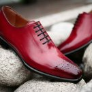 Handmade Mens Burgundy Brogue Oxfords Party shoes, Men leather dress shoes