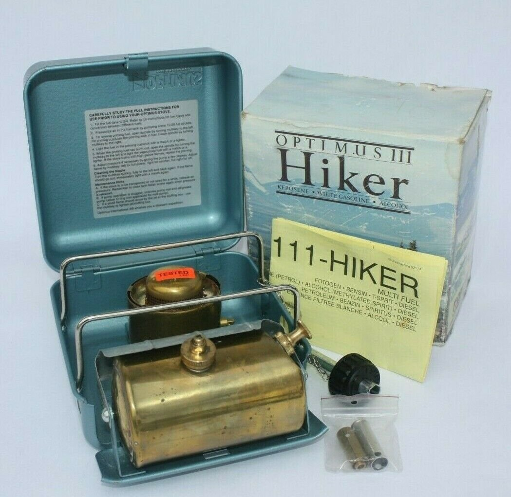 VINTAGE OPTIMUS INTERNATIONAL  111 HIKER TRIPLE FUEL BACKPACK STOVE