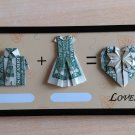 Gift for lovers. Lovers ' origami frame with magnet. Original banknote 1$